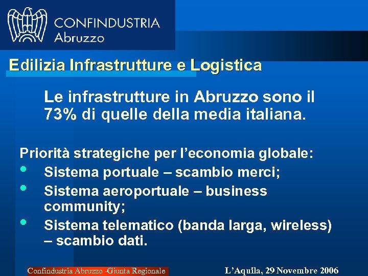 Edilizia Infrastrutture e Logistica Le infrastrutture in Abruzzo sono il 73% di quelle della