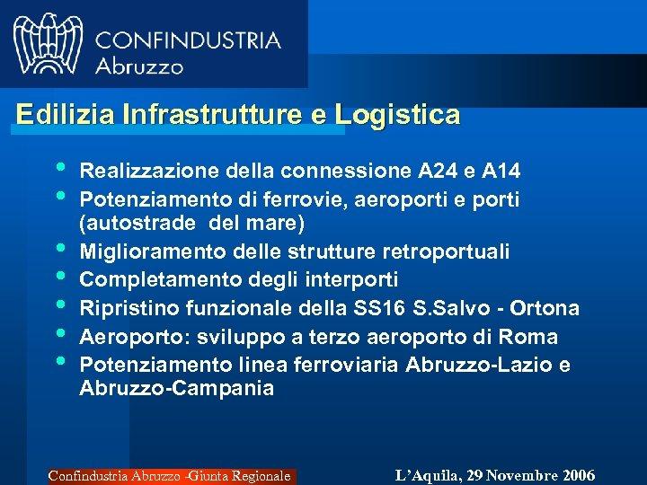 Edilizia Infrastrutture e Logistica • • Realizzazione della connessione A 24 e A 14