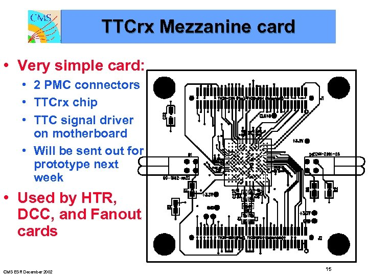 TTCrx Mezzanine card • Very simple card: • 2 PMC connectors • TTCrx chip
