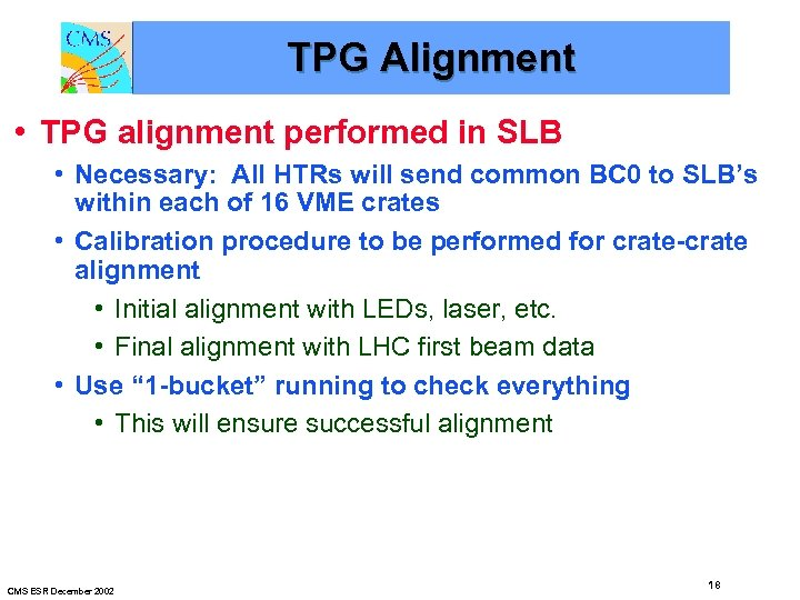 TPG Alignment • TPG alignment performed in SLB • Necessary: All HTRs will send