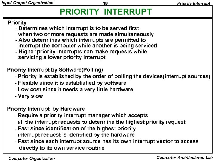Input-Output Organization 19 Priority Interrupt PRIORITY INTERRUPT Priority - Determines which interrupt is to