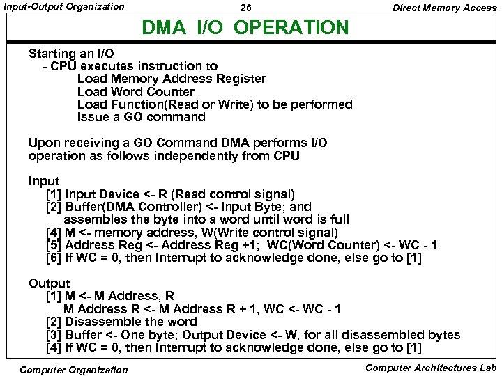 Input-Output Organization 26 Direct Memory Access DMA I/O OPERATION Starting an I/O - CPU