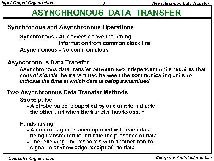 Input-Output Organization 9 Asynchronous Data Transfer ASYNCHRONOUS DATA TRANSFER Synchronous and Asynchronous Operations Synchronous