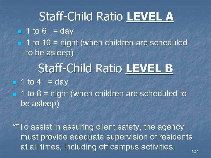 child to staff ratios Improved educator to child ratios are a key factor in delivering quality education and care, allowing staff to give more individual attention to each child the new ratios were agreed by all states and territories as part of the nqf.