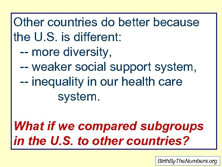 Other countries do better because the U. S. is different: -- more diversity, --