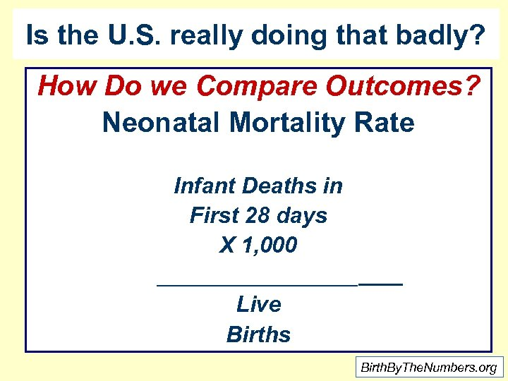 Is the U. S. really doing that badly? How Do we Compare Outcomes? Neonatal