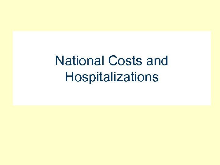 National Costs and Hospitalizations