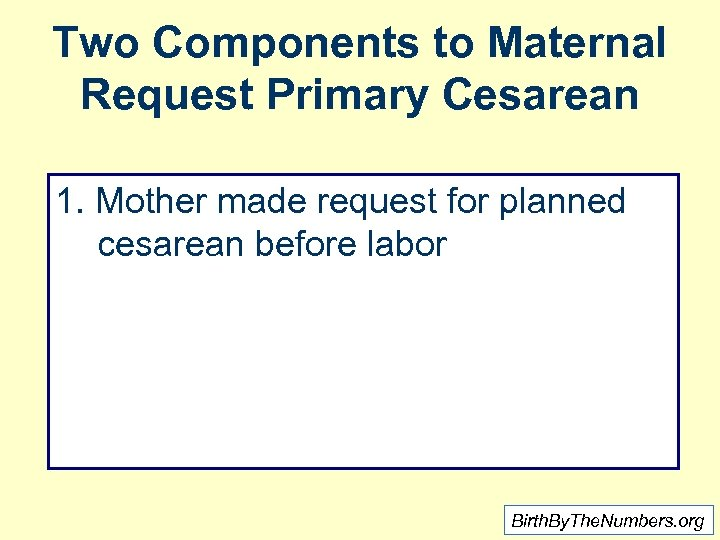 Two Components to Maternal Request Primary Cesarean 1. Mother made request for planned cesarean