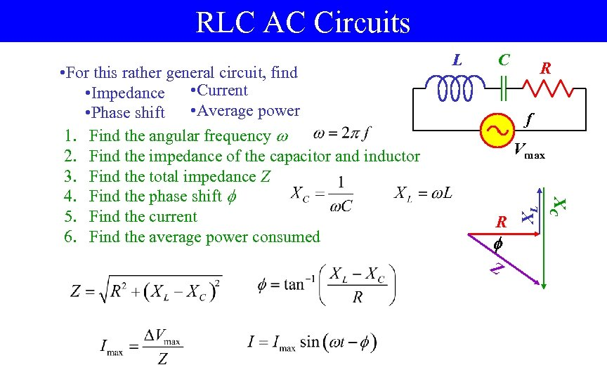 RLC AC Circuits C R f R Z XL Vmax XC • For this