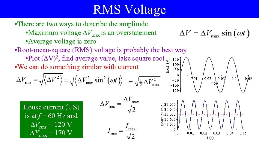 RMS Voltage • There are two ways to describe the amplitude • Maximum voltage