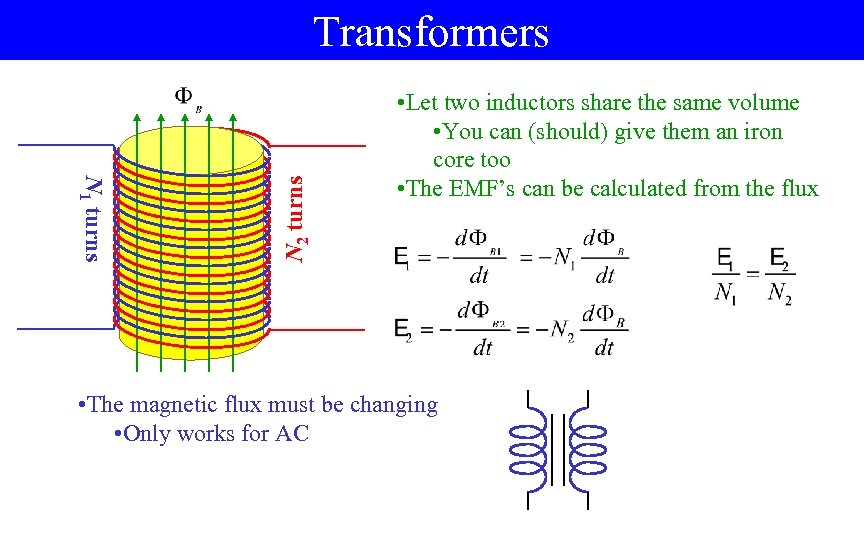 N 1 turns N 2 turns Transformers • Let two inductors share the same