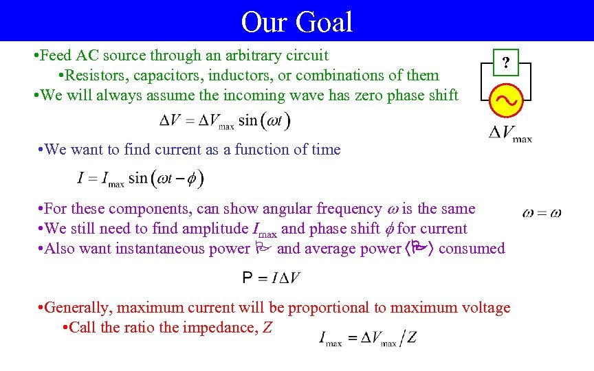 Our Goal • Feed AC source through an arbitrary circuit • Resistors, capacitors, inductors,