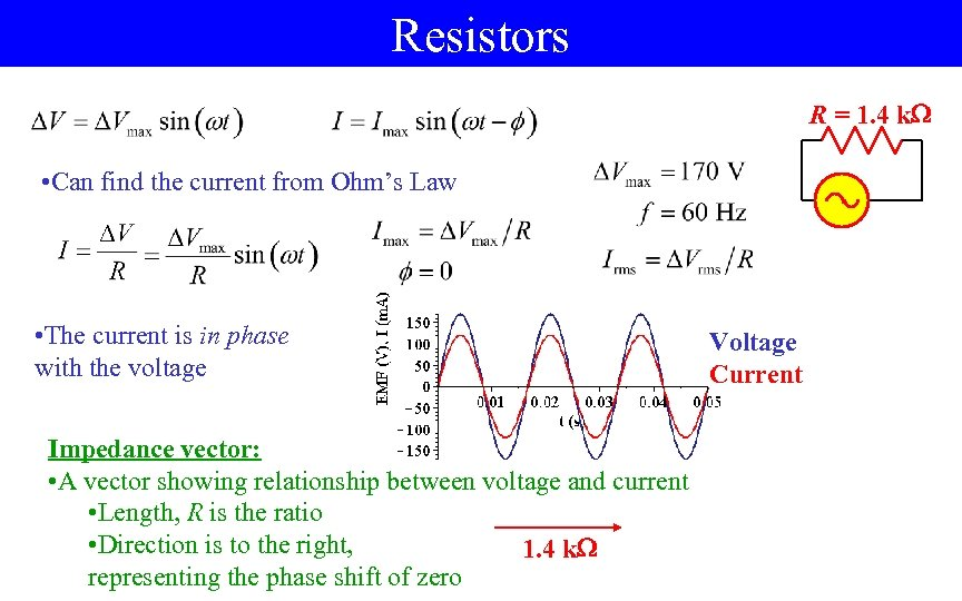 Resistors R = 1. 4 k • Can find the current from Ohm's Law