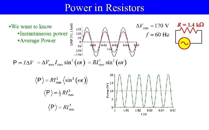 Power in Resistors • We want to know • Instantaneous power • Average Power