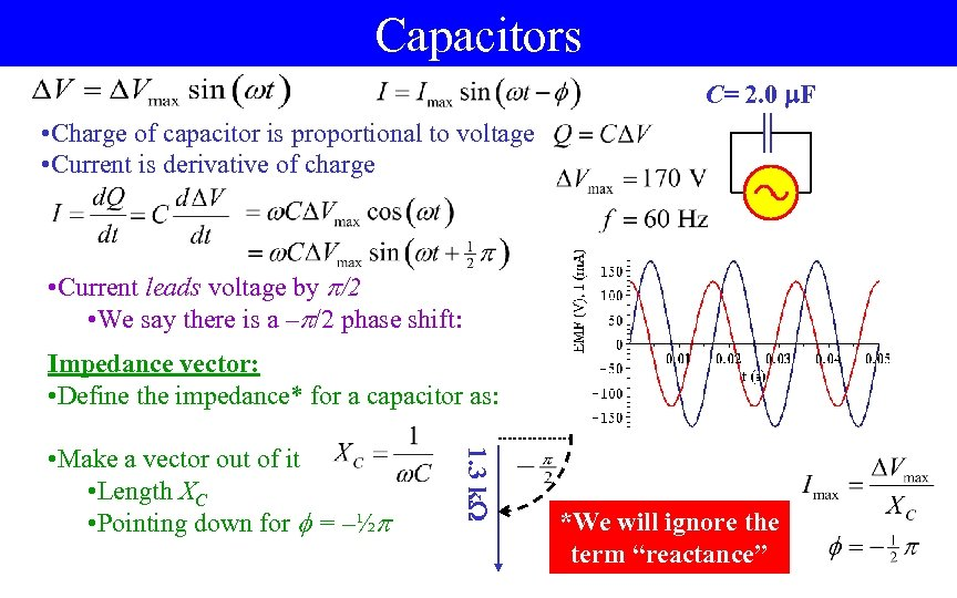 Capacitors C= 2. 0 F • Charge of capacitor is proportional to voltage •