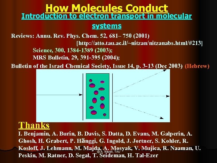 How Molecules Conduct Introduction to electron transport in molecular systems Reviews: Annu. Rev. Phys.