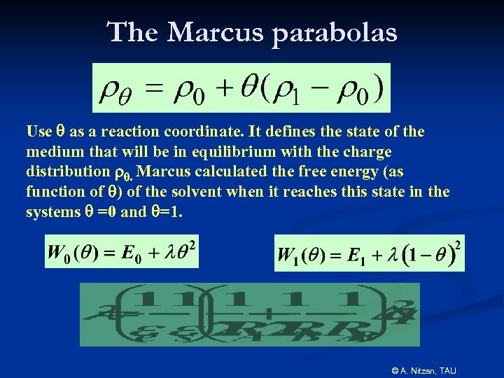 The Marcus parabolas Use q as a reaction coordinate. It defines the state of
