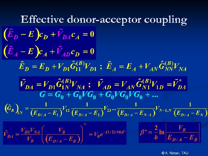 Effective donor-acceptor coupling © A. Nitzan, TAU