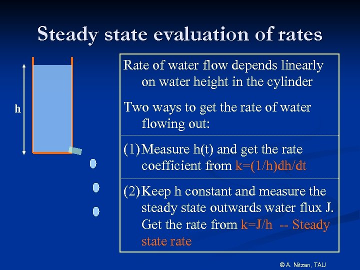 Steady state evaluation of rates Rate of water flow depends linearly on water height