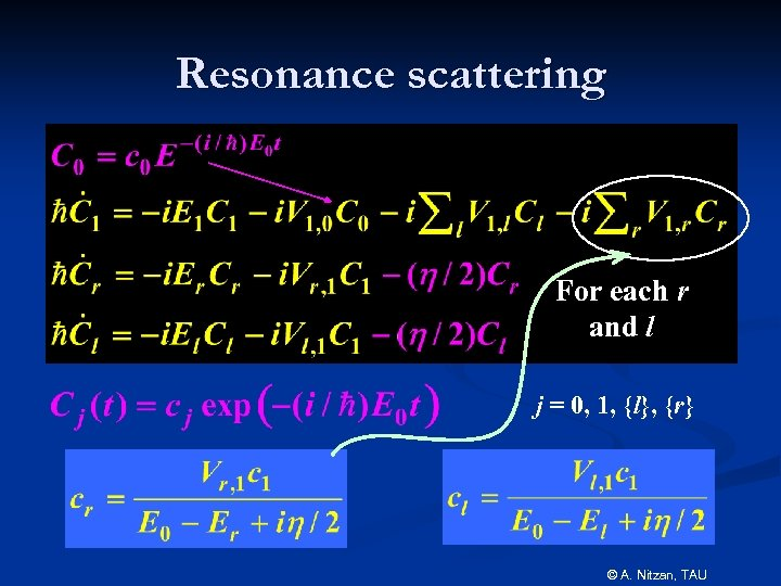 Resonance scattering For each r and l j = 0, 1, {l}, {r} ©