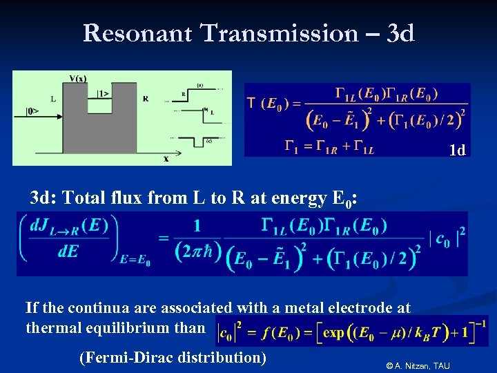 Resonant Transmission – 3 d 1 d 3 d: Total flux from L to