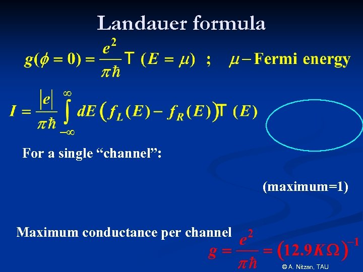 "Landauer formula For a single ""channel"": (maximum=1) Maximum conductance per channel © A. Nitzan,"