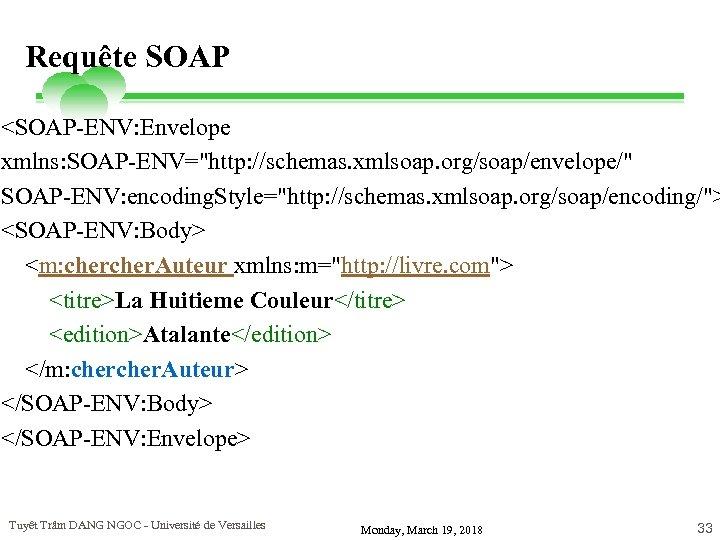 Requête SOAP <SOAP-ENV: Envelope xmlns: SOAP-ENV=