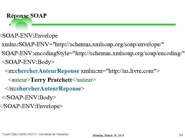 Réponse SOAP <SOAP-ENV: Envelope xmlns: SOAP-ENV=