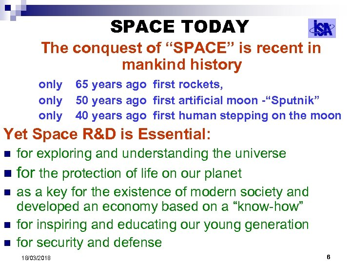 """SPACE TODAY The conquest of """"SPACE"""" is recent in mankind history only 65 years"""