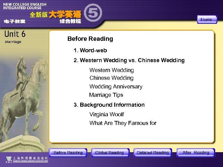 Before Reading 1. Word-web 2. Western Wedding vs. Chinese Wedding Western Wedding Chinese Wedding
