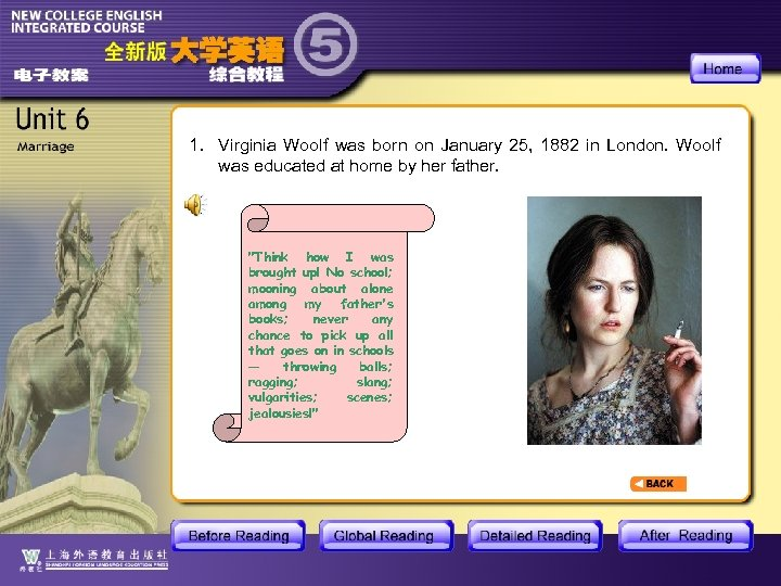 1. Virginia Woolf was born on January 25, 1882 in London. Woolf was educated