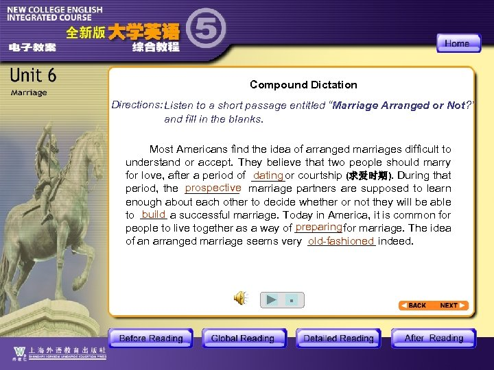 "Compound Dictation Directions: Listen to a short passage entitled ""Marriage Arranged or Not? """