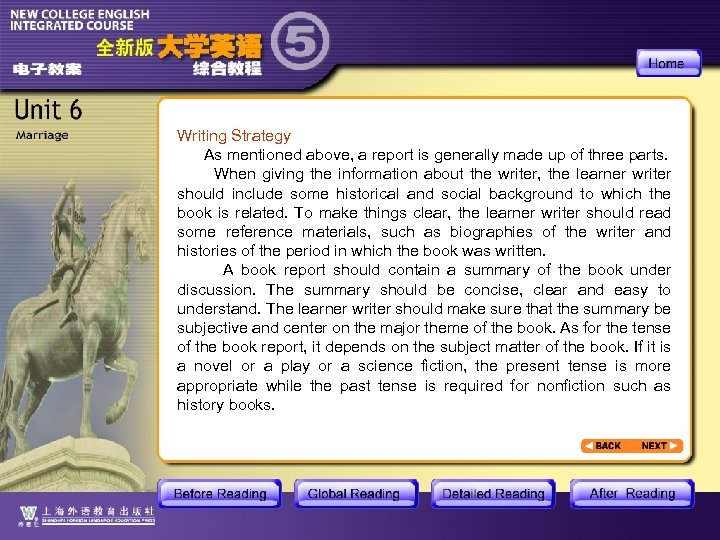Writing Strategy As mentioned above, a report is generally made up of three parts.