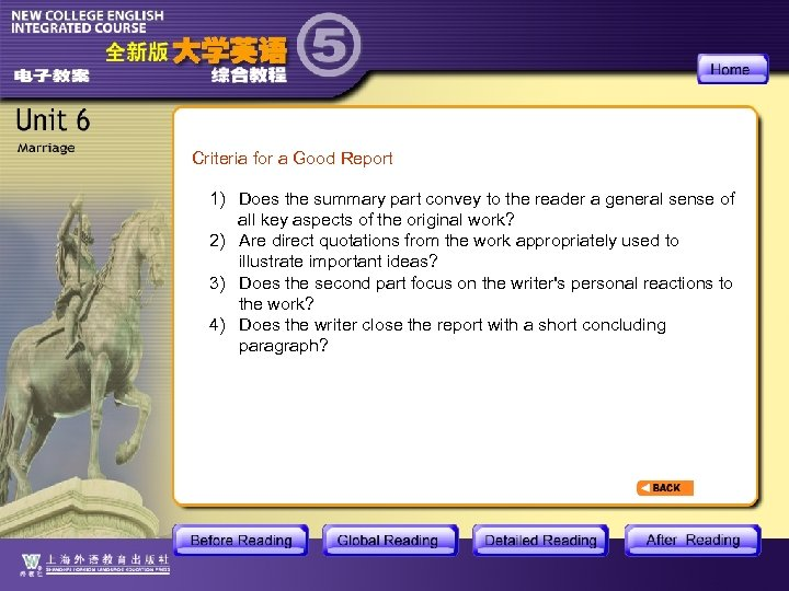 Criteria for a Good Report 1) Does the summary part convey to the reader