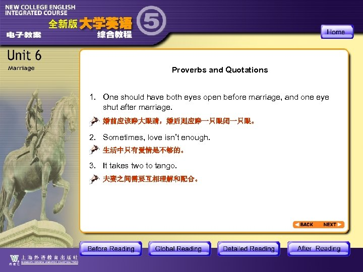 Proverbs and Quotations 1. One should have both eyes open before marriage, and one