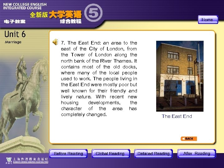 7. The East End: an area to the east of the City of London,