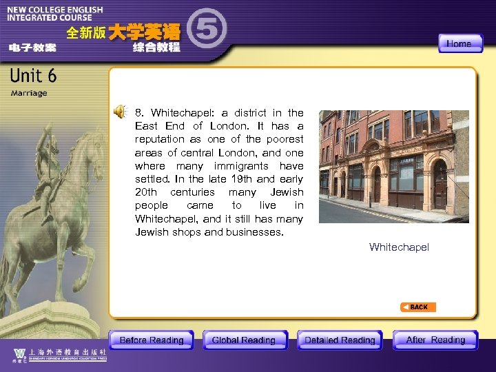 8. Whitechapel: a district in the East End of London. It has a reputation