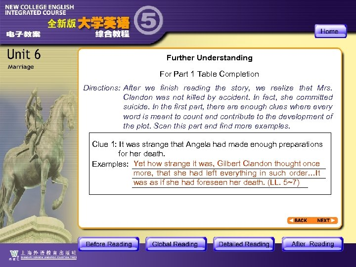 Further Understanding For Part 1 Table Completion Directions: After we finish reading the story,