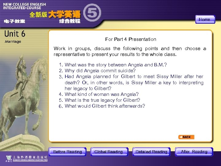 For Part 4 Presentation Work in groups, discuss the following points and then choose