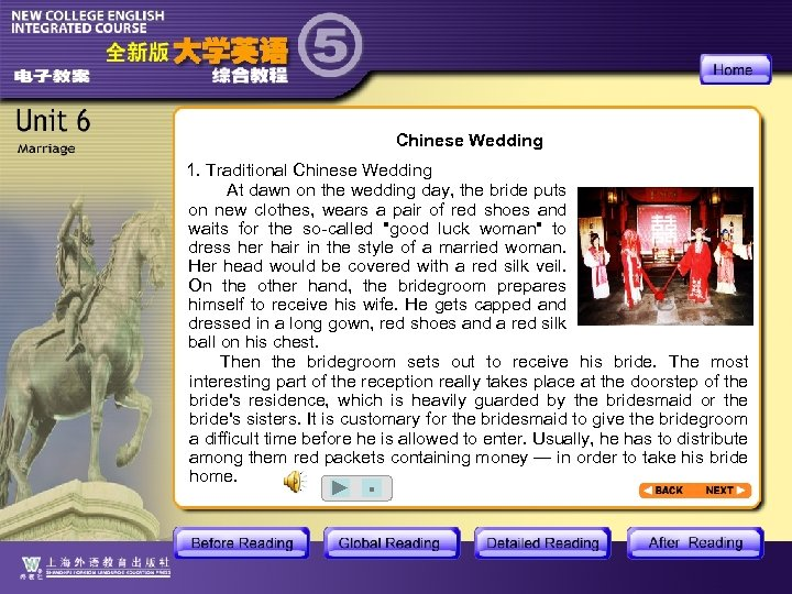 Chinese Wedding 1. Traditional Chinese Wedding At dawn on the wedding day, the bride