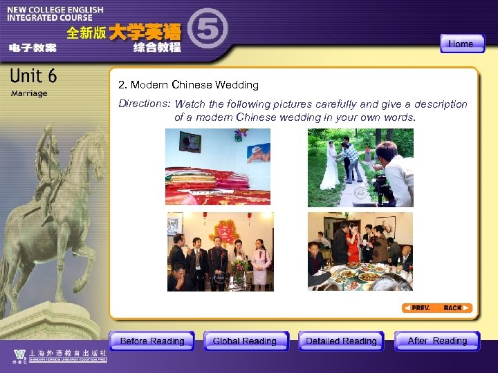 2. Modern Chinese Wedding Directions: Watch the following pictures carefully and give a description
