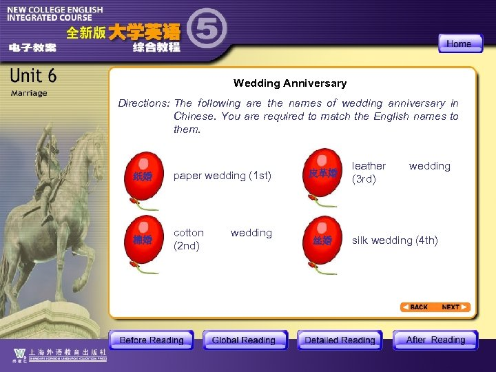Wedding Anniversary Directions: The following are the names of wedding anniversary in Chinese. You