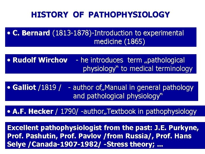 HISTORY OF PATHOPHYSIOLOGY • C. Bernard (1813 -1878)-Introduction to experimental medicine (1865) • Rudolf
