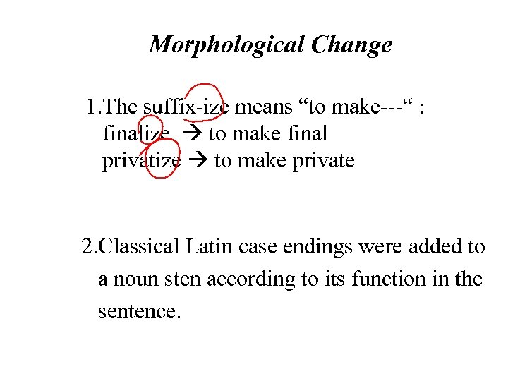"""Morphological Change 1. The suffix-ize means """"to make---"""" : finalize to make final privatize"""