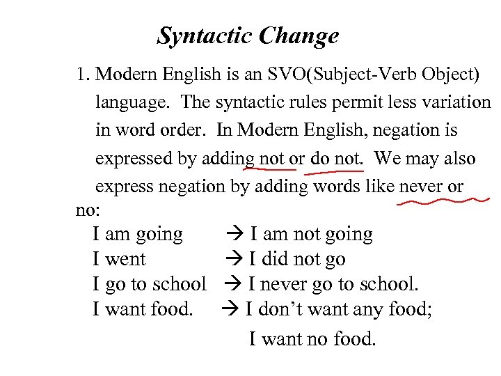 Syntactic Change 1. Modern English is an SVO(Subject-Verb Object) language. The syntactic rules
