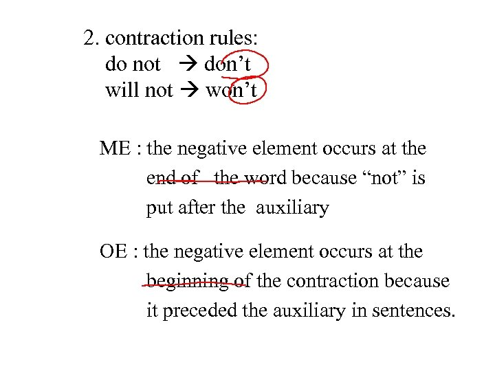2. contraction rules: do not don't will not won't ME : the negative element