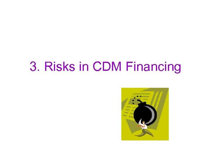 3. Risks in CDM Financing