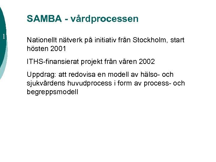 SAMBA - vårdprocessen 1 Nationellt nätverk på initiativ från Stockholm, start hösten 2001 ITHS-finansierat