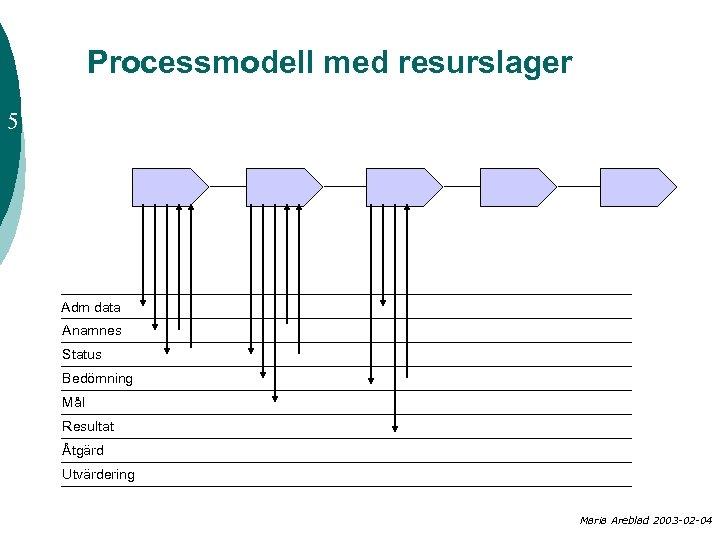 Processmodell med resurslager 5 Adm data Anamnes Status Bedömning Mål Resultat Åtgärd Utvärdering Maria