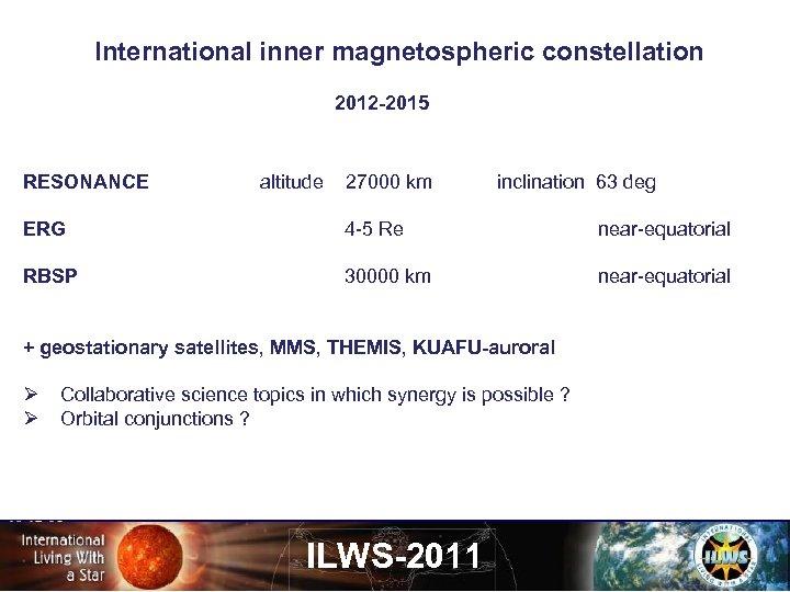 International inner magnetospheric constellation 2012 -2015 RESONANCE altitude 27000 km inclination 63 deg ERG